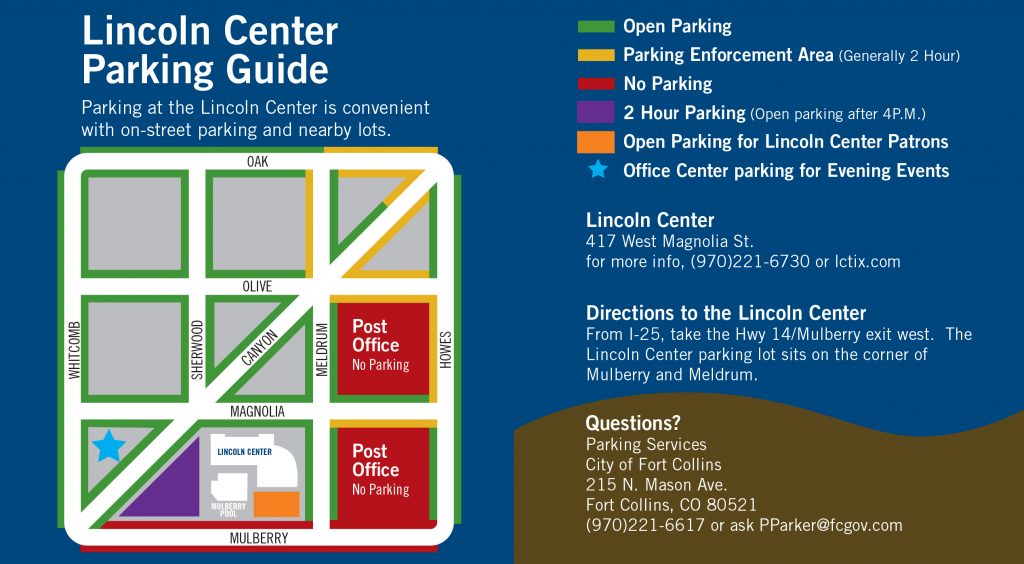 Lincoln Center Parking Map - Fort Collins Lincoln Center